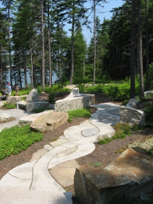 Path leading to a seated overlook of the Meditation Garden and Sheepscot River