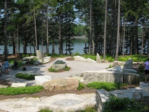 Meditation Garden with stone basin